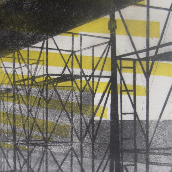Blandine Galtier gravure eau-forte, aquatinte, chine-collé et encrage jaune, sélection de la galerie Virginie Baro