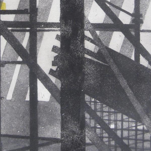 Blandine Galtier, gravure travaux à Mourenx, eau-forte, aquatinte,, chine collé, encrage jaune, tirage numéroté sur 4, sur papier Hahnemühle, une sélection de la galerie d'art Virginie Baro