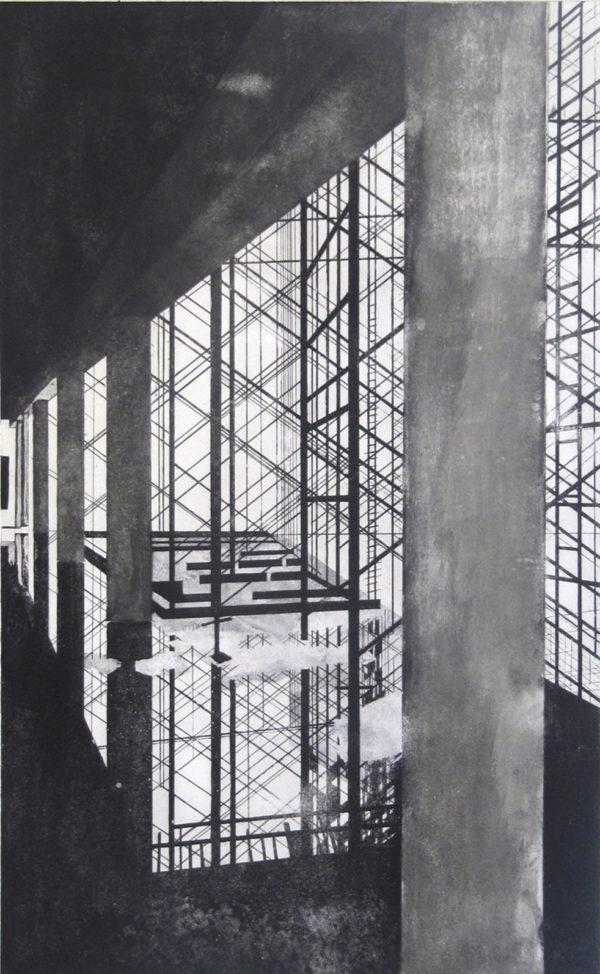 Blandine Galtier, gravure travaux à Mourenx, eau-forte, aquatinte,, chine collé, tirage numéroté sur 4, sur papier Hahnemühle, une sélection de la galerie d'art Virginie Baro