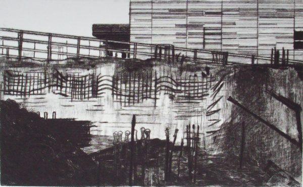 Blandine Galtier, gravure contemporaine, la ville et ses travaux, pointe sèche, roulettes, tirage numéroté sur 3 exemplaire, sur papier BFK, une sélection de la galerie d'art Virginie Baro