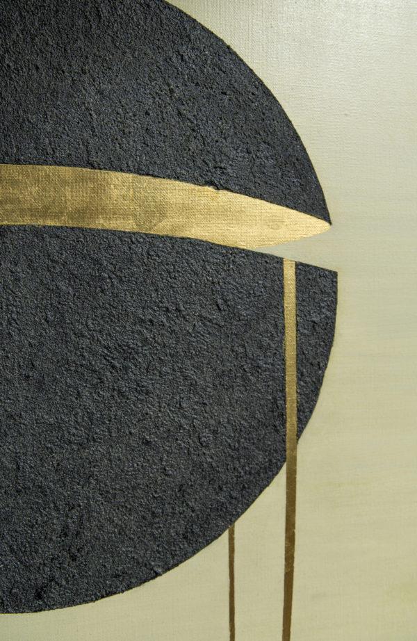 Benoît Mauduech, peintre, acryliqueet feuille d'or sur toile, une sélection de la galerie d'art Virginie Baro