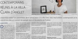 Article dans l'hebdomadaire Mediabask à propos de l'exposition temporaire «Les parenthèses de V.» à la Villa Clara à Anglet, commissariat d'exposition par la galerie d'art Virginie Baro