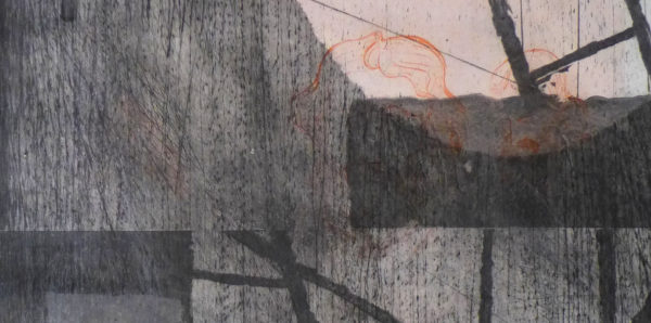 Blandine Galtier gravure architecture et travaux, monotype, monoprint, tirage unique, pointe sèche, carborundum, papier de gravure, une sélection de la galerie d'art Virginie Baro
