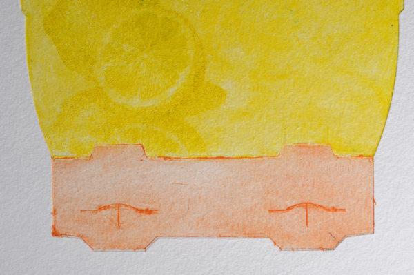 Marie-Noëlle Deverre, monogravure, pointe sèche sur carton d'emballage, impression sur papier Hahnemüle, sélectionnée par la galerie d'art Virginie Baro