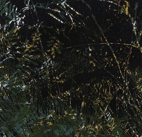 Jana Lottenburger, gravure, surimpression de trois matrices en trois couleurs, bois de fil, encres Charbonnel sur papier Simili Japon, marouflées sur contreplaqué, galerie d'art Virginie Baro