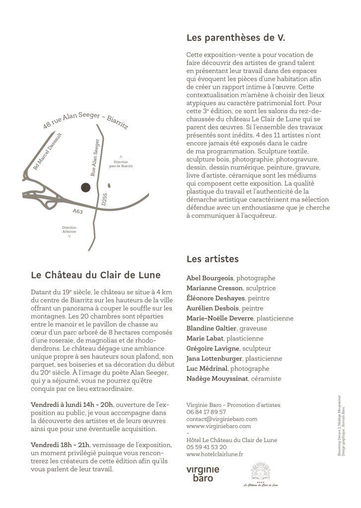 """3e édition de l'exposition collective """"Les parenthèses de V."""". Elle se tiendra au sein du Château Le Clair de Lune à Biarritz. Commissariat d'exposition Virginie Baro"""