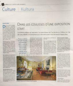 Article à l'occasion de l'exposition Les parenthèses de V. à l'Hôtel Château Le Clair de Lune à Biarritz