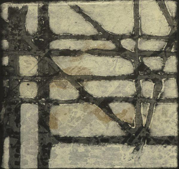Blandine Galtier série «Cities» sur la ville et son architecture gravure monotype, tirage unique, eau-forte, aquatinte, carborundum et pointe sèche, sur papier wenzhou représentée par la galerie d'art Virginie Baro