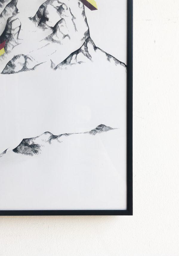 Aurélien Desbois dessin à l'encre noir sur papier d'art Arche, montagne contemporaine, sélectionné par la galerie d'art Virginie Baro