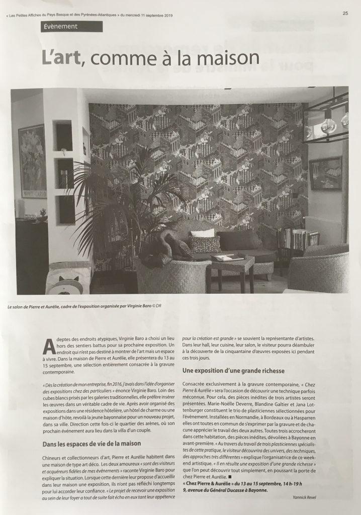 Exposition et ventes de gravures contemporaines qui se tient chez des particuliers à Bayonne.