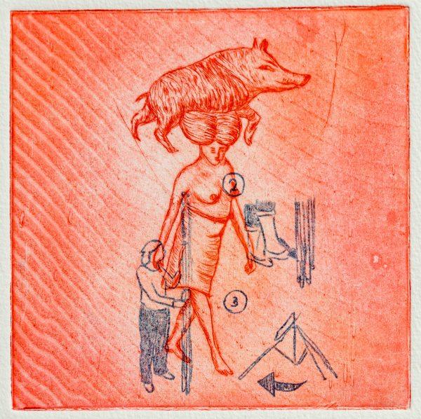 Gravure pointe sèche et rehaut au carbone, Marie-Noëlle Deverre, Galerie Virginie Baro