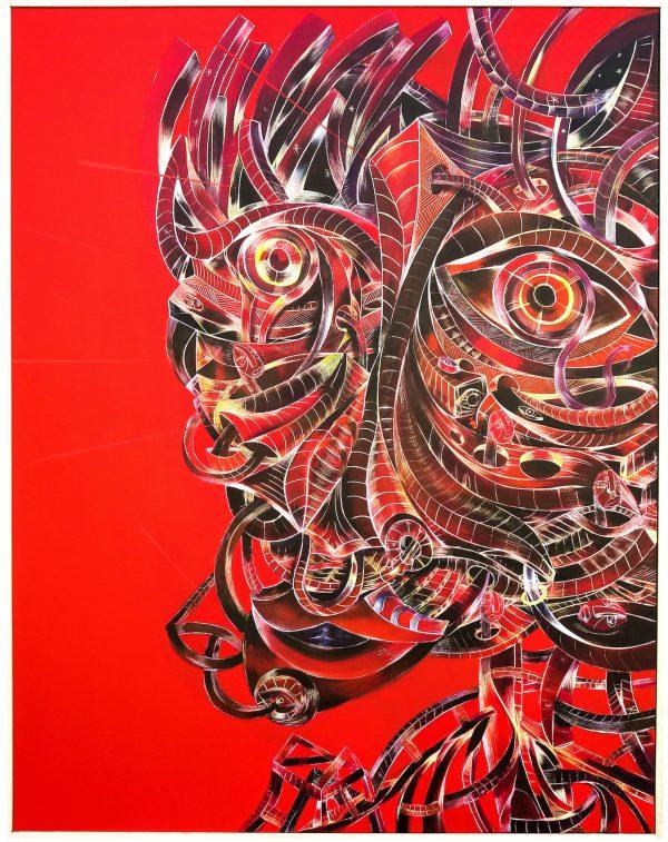 Aurélien Desbois, peinture acrylique sur toile, masque sur fond rouge, sélectionné par la Galerie d'art Virginie Baro