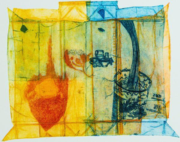 Monoprint, pointe sèche sur carton d'emballage par Marie-Noëlle Deverre, Galerie Virginie Baro