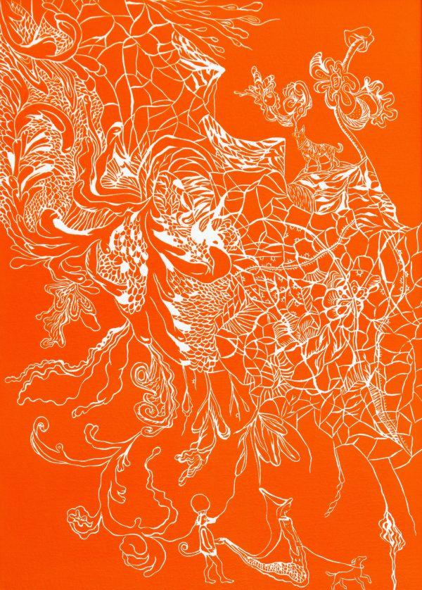 Linogravure gaufrée par Marie-Noëlle Deverre, Galerie Virginie Baro