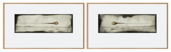 Encre et feuille d'or sur papier, Benoît Mauduech, galerie Virginie Baro