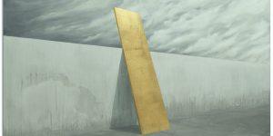 Acrylique et feuille d'or sur toile, Benoît Mauduech, galerie Virginie Baro