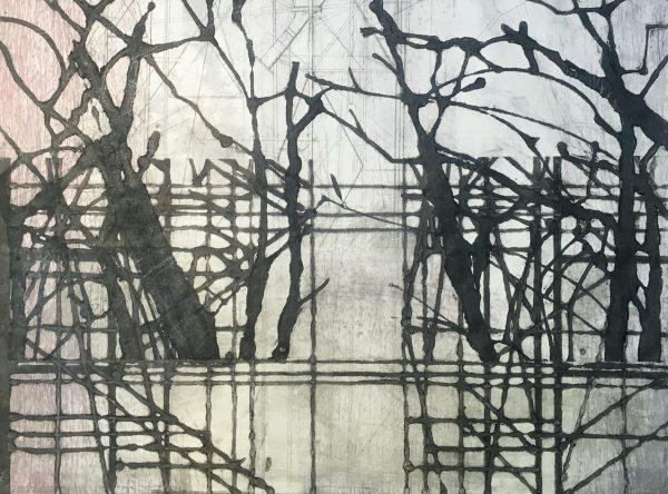 Gravure monoprint sur papier Wenhzou, superposition de plusieurs matrices, Blandine Galtier représentée par la galerie Virginie Baro