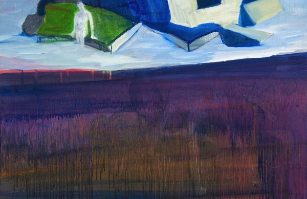 Huile sur toile, paysage sensible de Juliette June, représentée par la galerie Virginie Baro