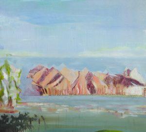 Huile sur toile, paysage sensible de Juliette June d'après un voyage en Australie et Nouvelle-Zélande, représentée par la galerie Virginie Baro.