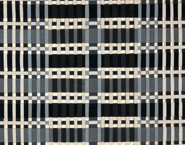 """Série """"Solstice chromatique d'hiver"""", tableau de cuir tissé par l'ébéniste designer Camille Piaton, représentée par la galerie Virginie Baro"""