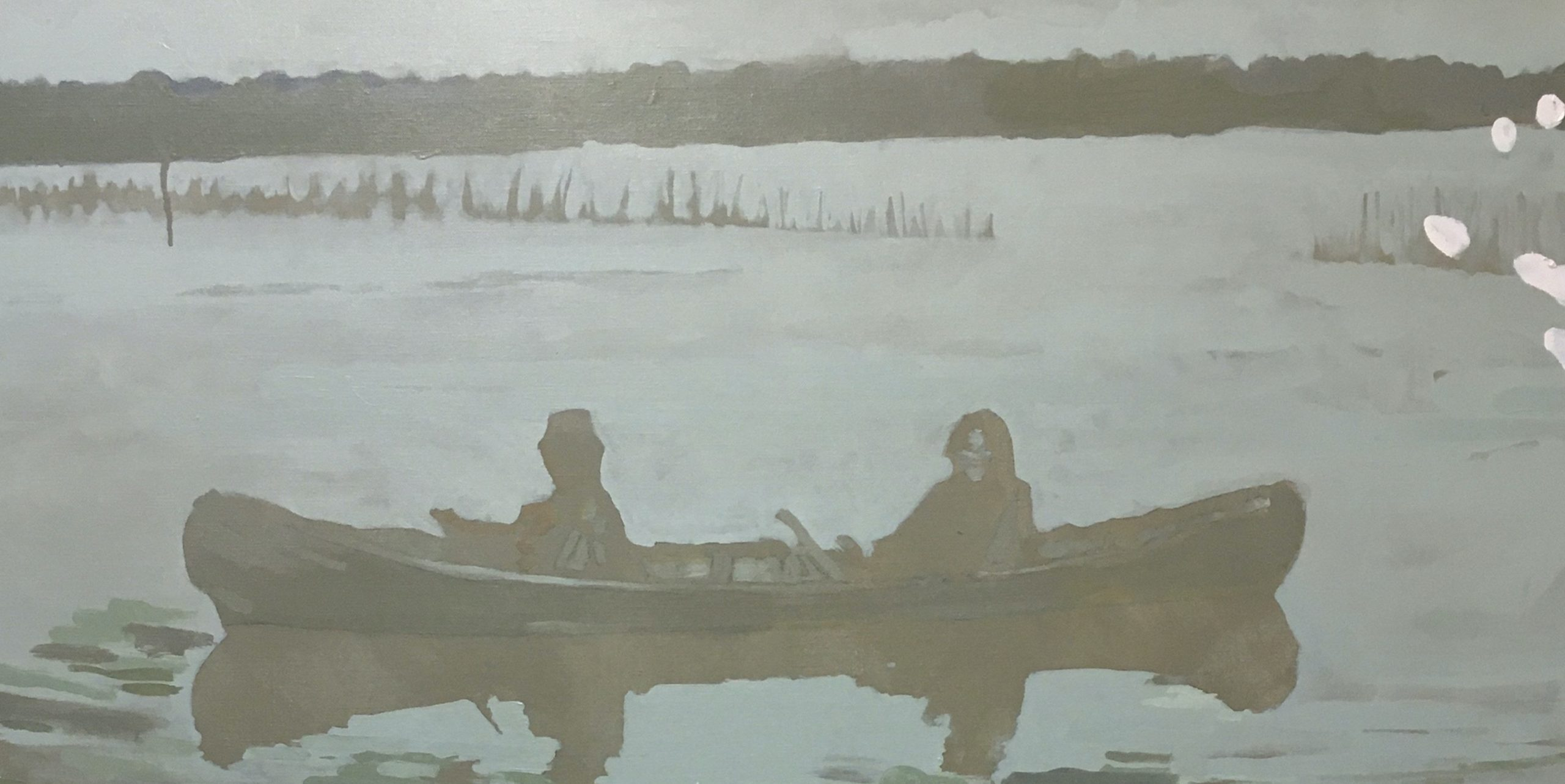 Huile sur toile de Thomas Loyatho, barque sur l'eau et geste pictural, représenté par la galerie Virginie Baro