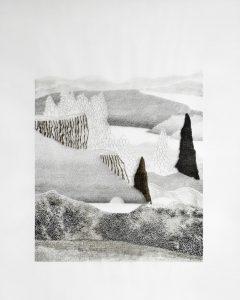 Dessin à l'encre noire sur polypropylène par Éléonore Deshayes, représentée par la galerie Virginie Baro.