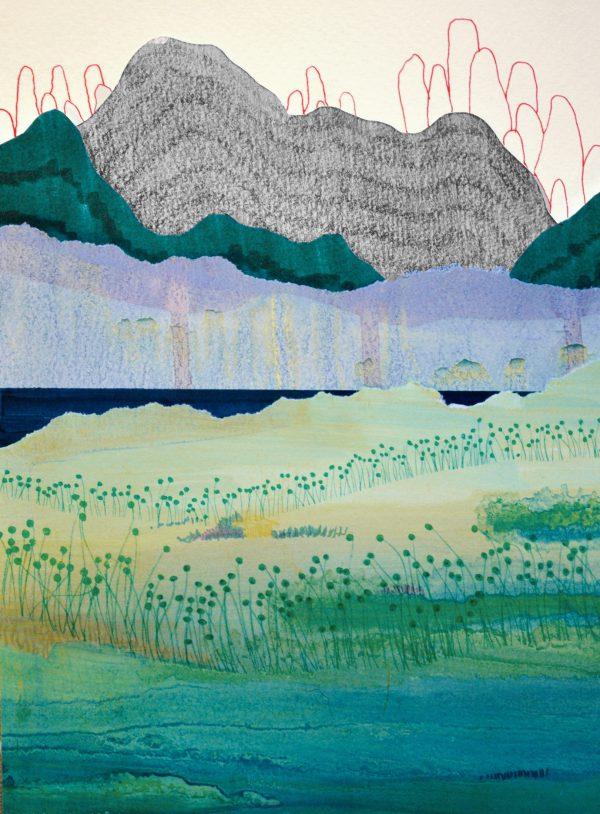 Série de dessins Carnet de voyage par Éléonore Deshayes, représentée par la galerie Virginie Baro.