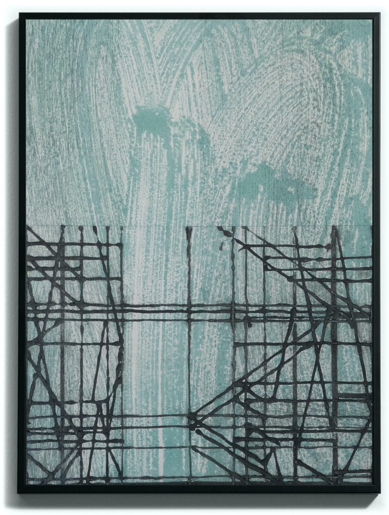 Monoprint, pointe sèche, carborundum sur papier gravure, Blandine Galtier, galerie Virginie Baro