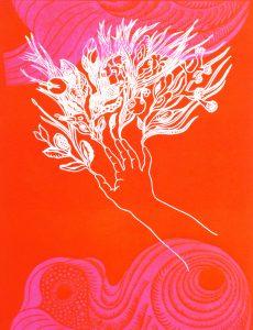 Linogravure gaufrée sur les muses, édition limitée, Marie-Noëlle Deverre représentée par la galerie Virginie Baro