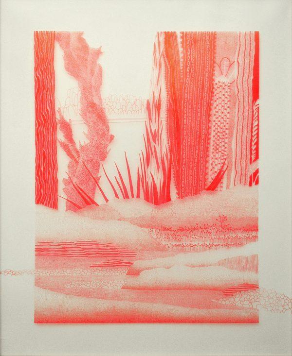 Dessin à l'encre rouge, paysage réalisé par pointillisme et traits, Éléonore Deshayes représentée par Virginie Baro