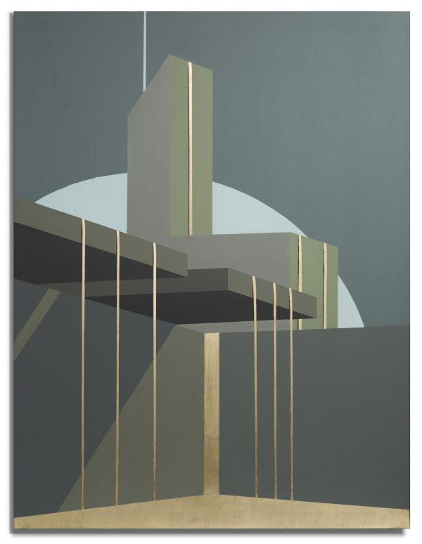 Acrylique et feuille d'or sur toile, architecture géométrique, Benoît Mauduech représenté par la galerie Virginie Baro