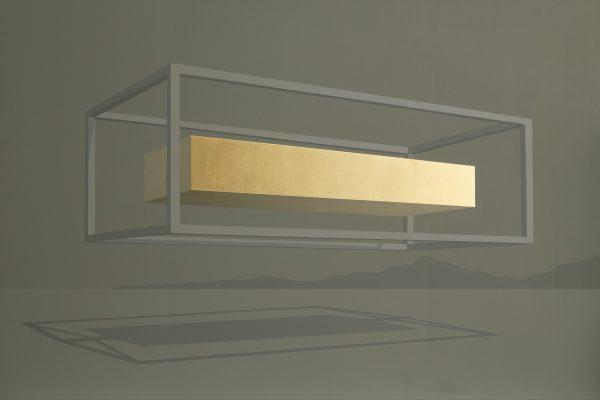 Acrylique et feuille d'or sur toile, architecture géométrique et science fiction, Benoît Mauduech représenté par la galerie Virginie Baro
