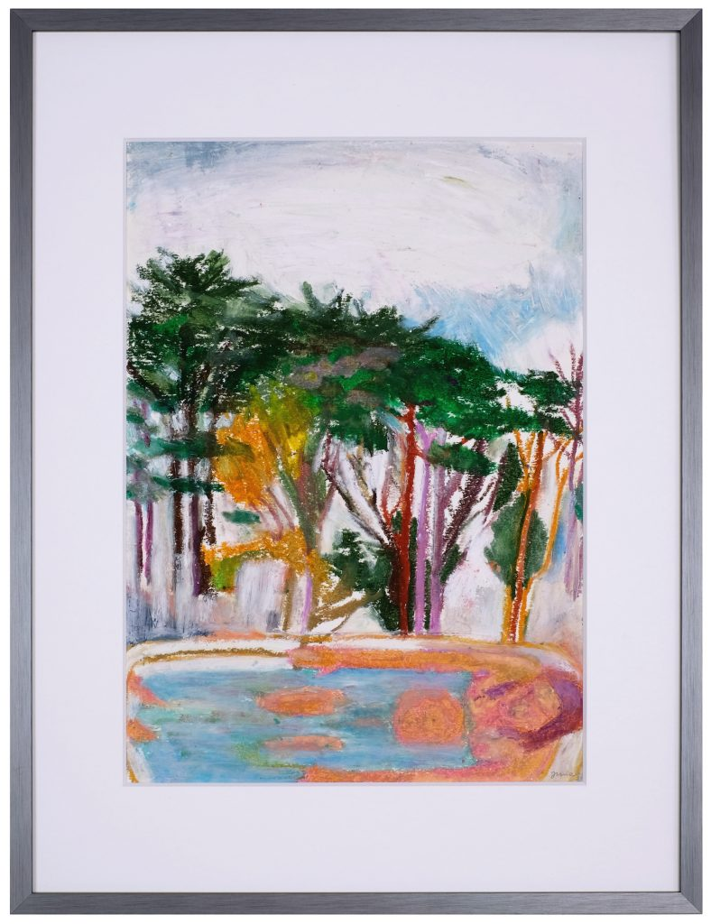 Dessin au pastel gras sur papier, scène de genre dans la salle de bain par la peintre Juliette June représentée par la galerie Virginie Baro